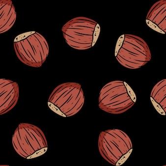 Modèle sans couture mignon dessin animé noisettes automne