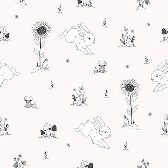 Modèle sans couture mignon dessiné avec des lapins à la main
