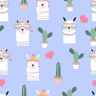 Modèle sans couture mignon dessiné main violet avec lama, lunettes de coeur, cactus en été