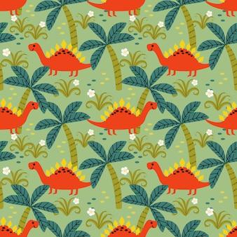 Modèle sans couture mignon dinosaure coloré.