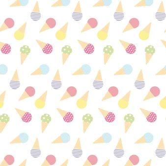 Modèle sans couture mignon doodle avec des cornets de crème glacée