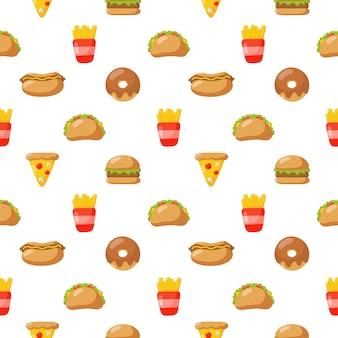 Modèle sans couture mignon drôle fast food icônes de style kawaii isolé sur fond blanc.