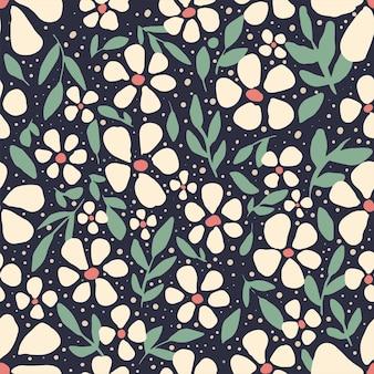 Modèle sans couture mignon fleur et feuilles