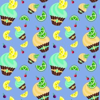 Modèle sans couture mignon avec des gâteaux et des bonbons