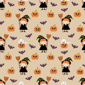 Modèle sans couture mignon halloween citrouille et sorcière
