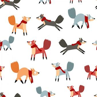 Modèle sans couture mignon hiver drôle de dessin animé
