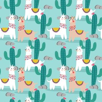 Modèle sans couture mignon lama et cactus heureux.