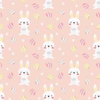 Modèle sans couture mignon de lapin blanc et oeufs de pâques.