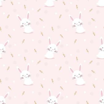 Modèle sans couture mignon lapin blanc.