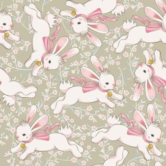 Modèle sans couture avec mignon lapin en cours d'exécution sur la prairie en fleurs