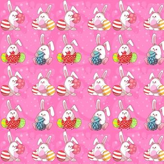 Modèle sans couture mignon lapin de pâques