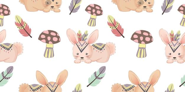 Modèle sans couture mignon lapin tribal