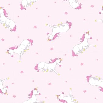 Modèle sans couture mignon licorne