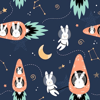 Modèle sans couture mignon avec des lièvres sur des fusées de carottes.