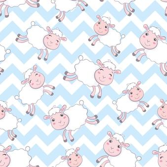 Modèle sans couture mignon moutons