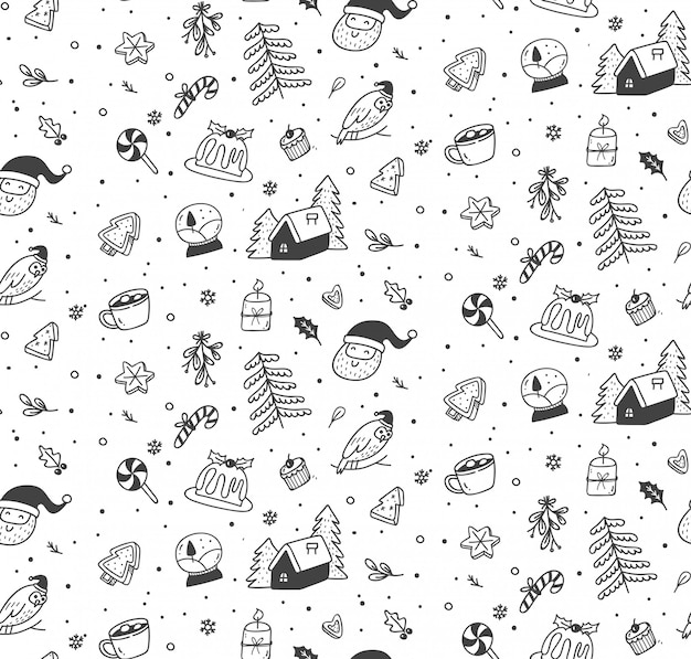 Modèle sans couture mignon noël doodle