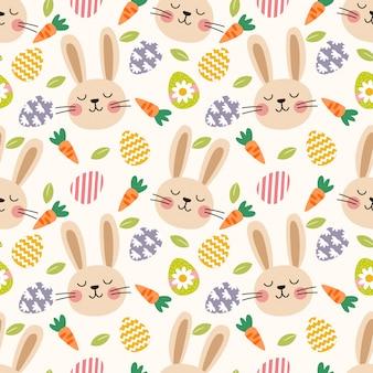 Modèle sans couture mignon oeufs de lapin et de pâques.