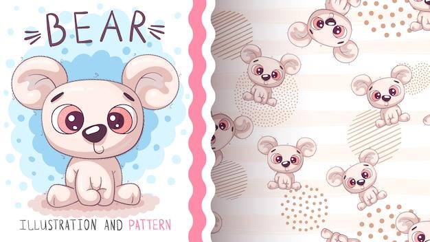 Modèle sans couture mignon ours polaire