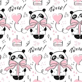 Modèle sans couture avec mignon personnage panda dessiné à la main tenant un cadeau avec un arc