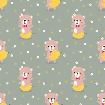 Modèle sans couture mignon petit ours et citron