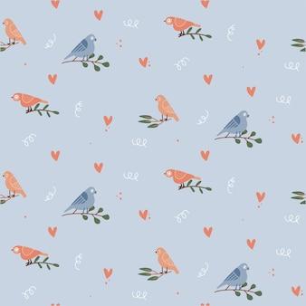 Modèle sans couture mignon de saint-valentin avec des coeurs, des oiseaux sur des branches. illustration vectorielle plane dessinée à la main. fond romantique pour carte de vœux, papier d'emballage cadeau, papier peint.