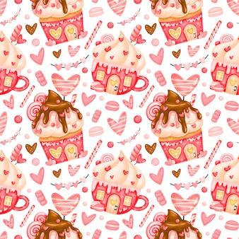 Modèle sans couture mignon de la saint-valentin. modèle de maisons en pain d'épice de la saint-valentin. modèle de bonbons de la saint-valentin.