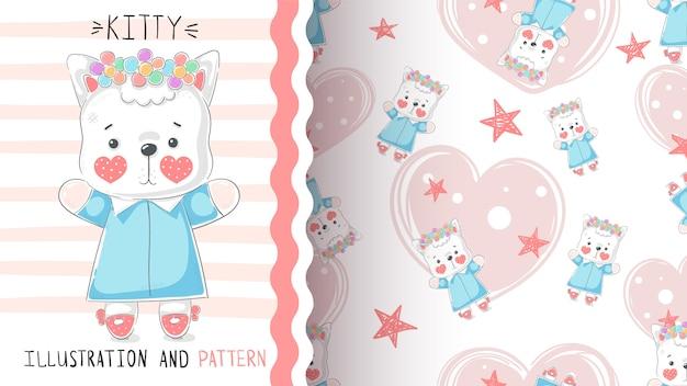 Modèle sans couture mignon teddy kitty