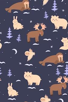 Modèle sans couture avec mignons animaux de l'arctique.