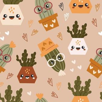Modèle sans couture avec de mignons cactus et succulentes kawaii.