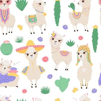 Modèle sans couture avec mignons lamas et cactus.