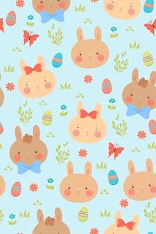 Modèle sans couture avec mignons lapins de pâques.