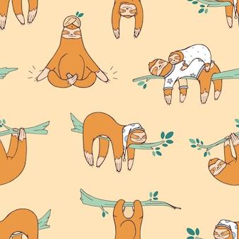 Modèle sans couture avec de mignons paresseux dormant, faisant la sieste, somnolant. toile de fond avec un adorable animal exotique sauvage paresseux. illustration vectorielle de dessin animé coloré dans un style plat pour papier d'emballage, impression textile.