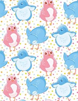 Modèle sans couture avec des mignons petits oiseaux bleus et roses sur fond de cofetti.