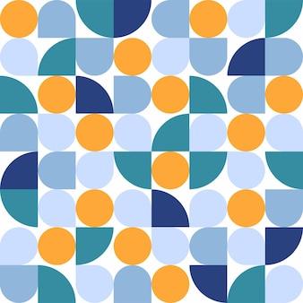Modèle sans couture minimaliste de géométrie avec une forme et une figure simples modèle vectoriel bleu et jaune