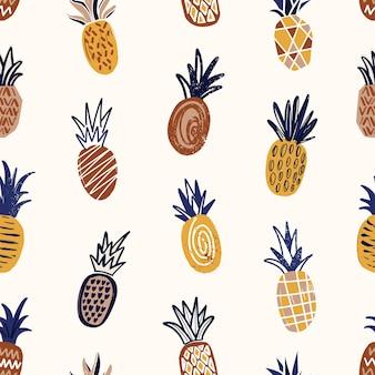 Modèle sans couture à la mode avec des ananas texturés sur fond clair