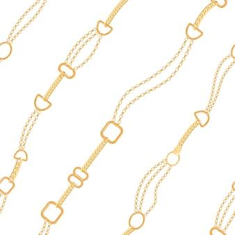 Modèle sans couture de mode de chaînes dorées. fond de tissu avec chaîne en or. design de luxe avec éléments de bijoux pour textile, papier peint. illustration vectorielle