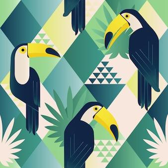 Modèle sans couture mode plage exotique illustré toucan tropical vecteur floral.