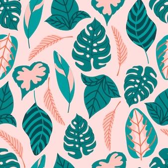 Modèle sans couture moderne avec des feuilles tropicales