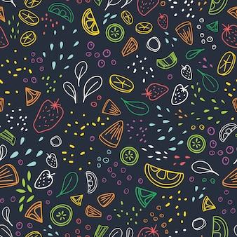 Modèle sans couture moderne avec des morceaux de délicieux légumes, fruits tropicaux et baies dessinés avec des contours colorés