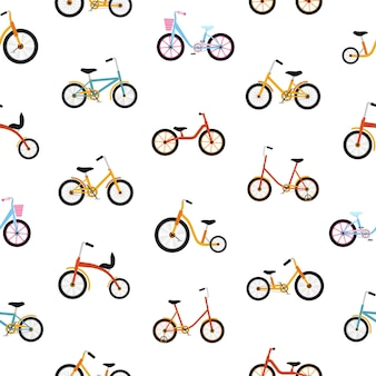 Modèle sans couture moderne avec des vélos pour enfants de différents types.