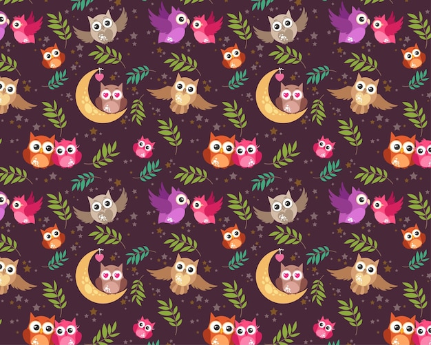 Modèle sans couture modifiable textile tissu motif complet personnalisable enfants emballage cadeau bébé motif hibou oiseau amour couple oiseau motif nuit