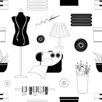 Modèle sans couture monochrome d'accessoires de couture. illustration vectorielle. style de bande dessinée.