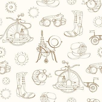 Modèle sans couture monochrome avec des attributs steampunk et des vêtements dessinés à la main avec des lignes de contour sur fond clair. toile de fond avec des machines à vapeur.