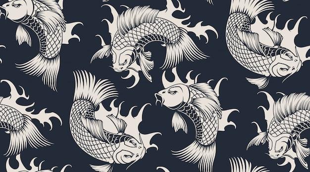 Modèle sans couture monochrome avec carpes koi.