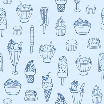 Modèle sans couture monochrome avec de délicieuses glaces et desserts lactés de différents types sur fond blanc.