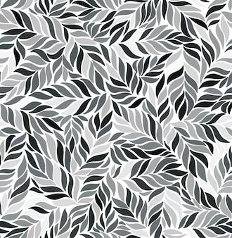 Modèle sans couture monochrome avec des feuilles.