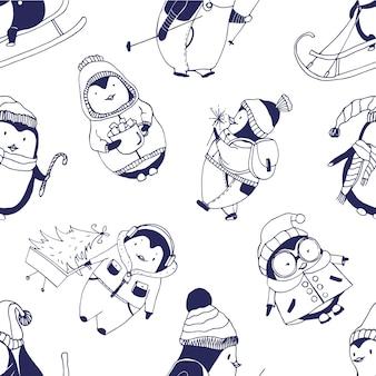 Modèle sans couture monochrome avec de jolis bébés pingouins vêtus de divers vêtements d'hiver