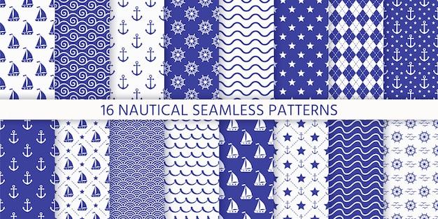 Modèle sans couture monochrome nautique. illustration. milieux marins.