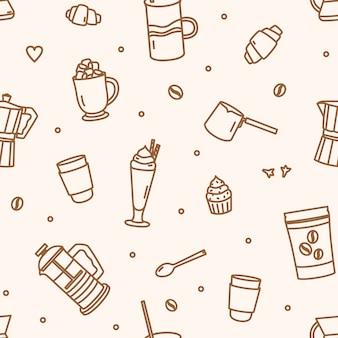 Modèle sans couture monochrome avec des outils et des ustensiles pour la préparation du café