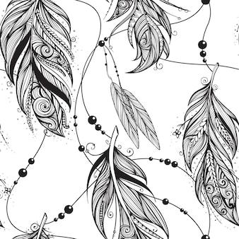 Modèle sans couture monochrome avec plumes et bijoux